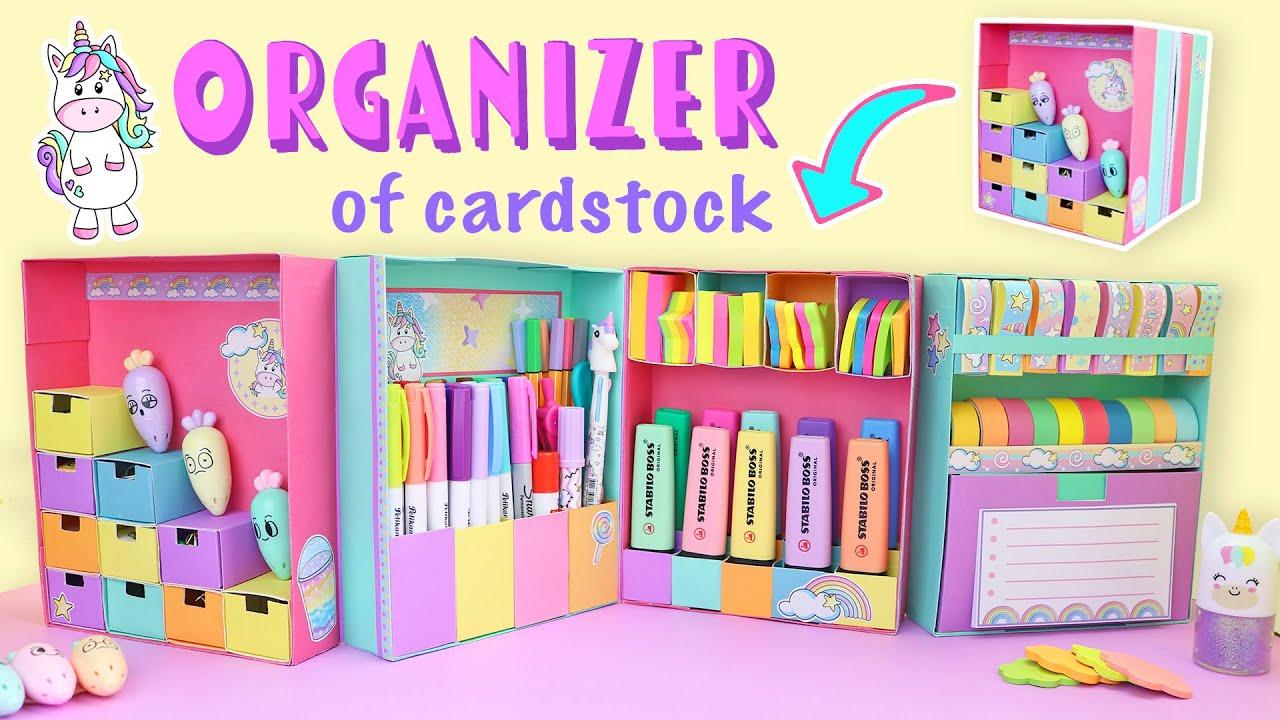 DESKTOP ORGANIZER DIY expandable of CARDSTOCK PAPER 👉 Back to school| aPasos Crafts DIY