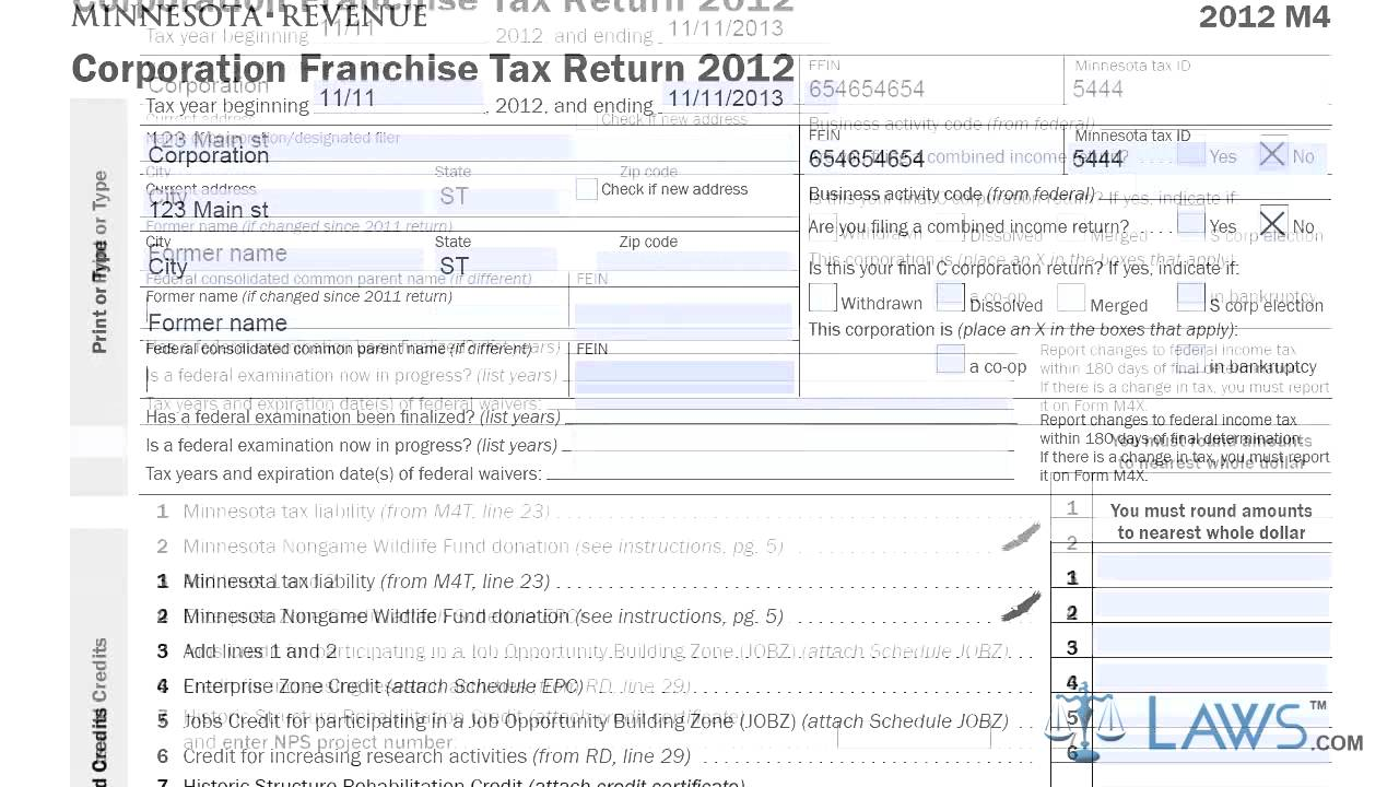 Form M4 Corporation Franchise Tax Return - YouTube