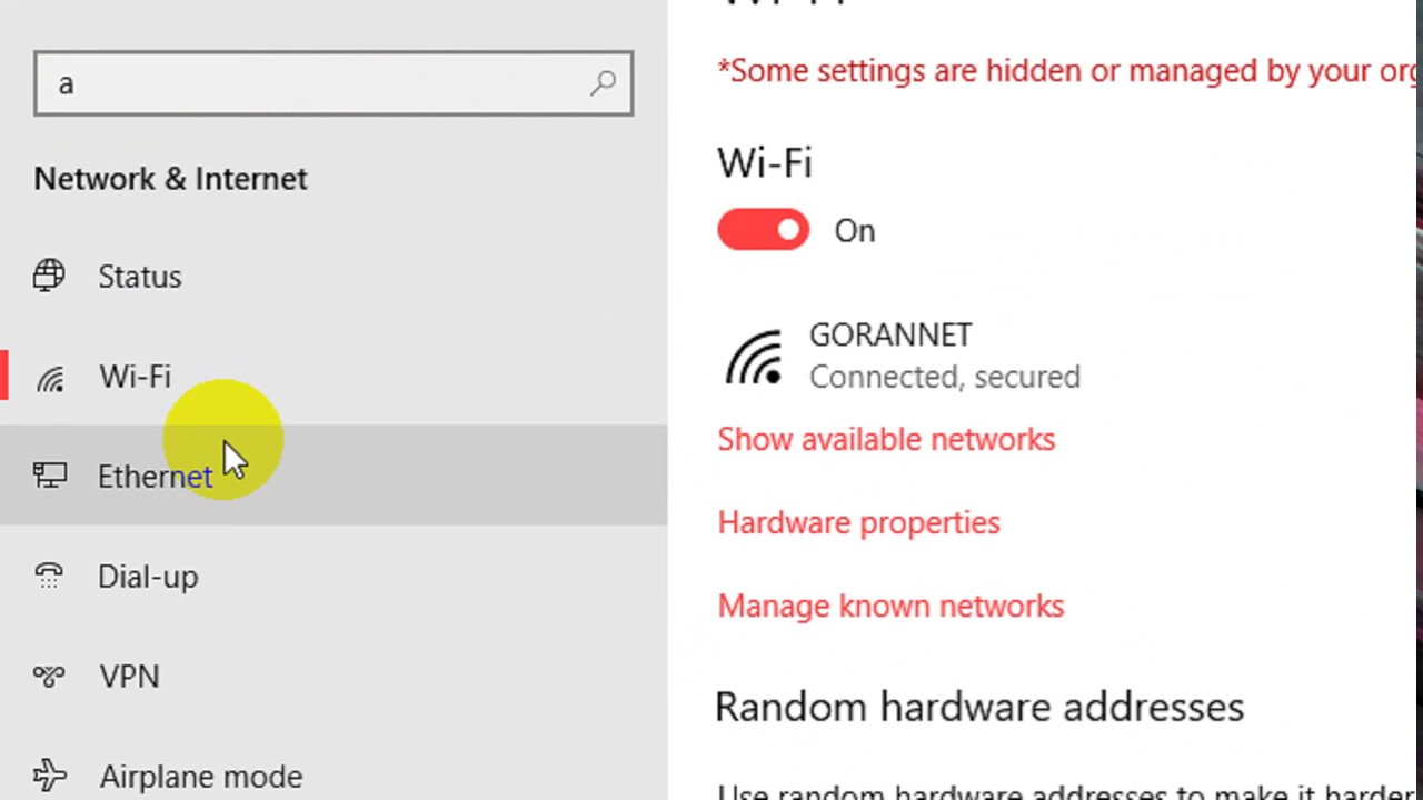 make a ethernet network public or private in windows 10