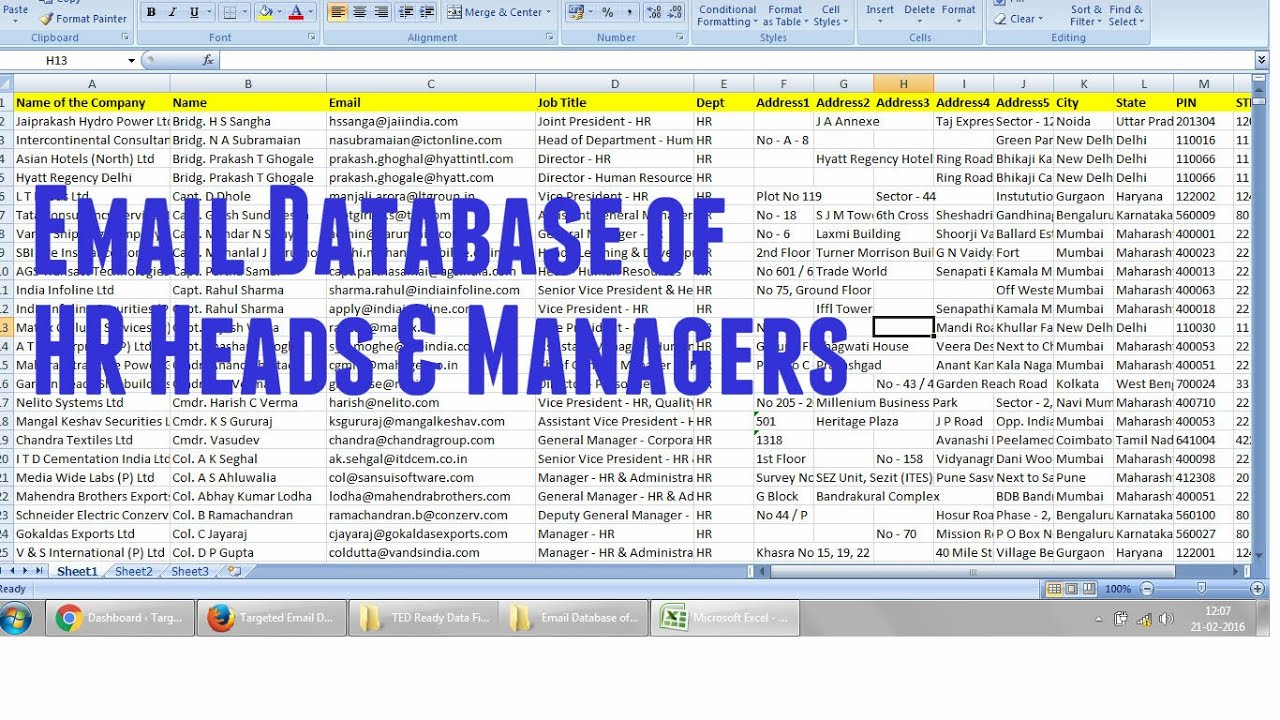 Email Database of HR Managers & HR Heads