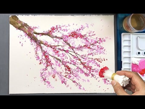 Cherry Blossom Tree Q Tip Painting Technique | Acrylic Painting