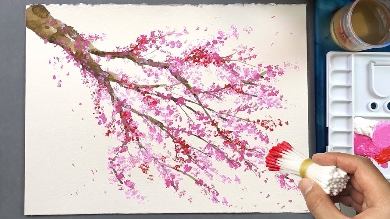 Cherry Blossom Tree Q Tip Painting Technique | Acrylic ... Easy Acrylic Flower Paintings On Canvas