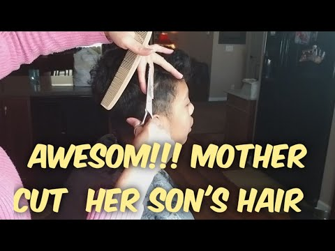 Amazing,  Mother cut her son's hair