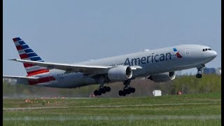 Diversion! American Boeing 777-200 Landing + Takeoff at Quebec City (YQB)