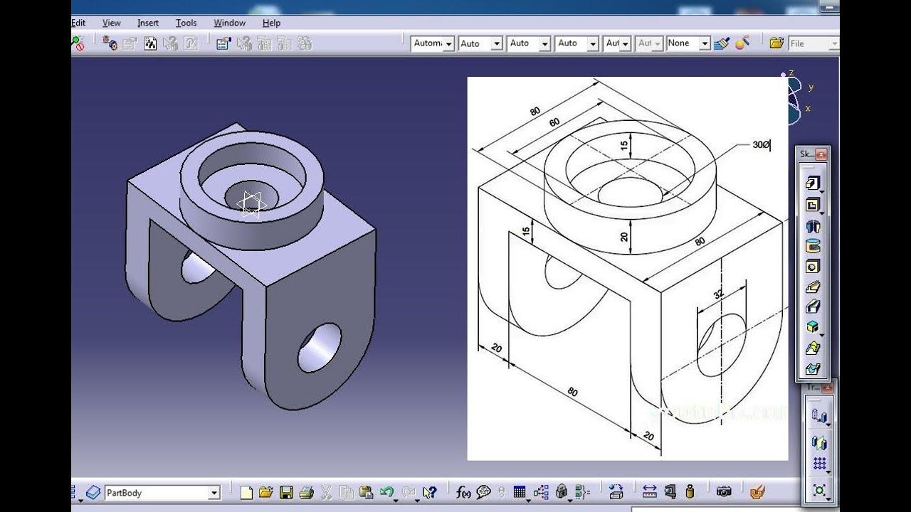 CATIA V5 - Basic Part Design tutorial Exercise 1  beginners