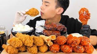 BBQ시크릿양념닭다리치킨 + 황금올리브치킨 + 자메이카 통다리구이 리얼사운드 ASMR 먹방 social eating Mukbang(Eating Show) chicken