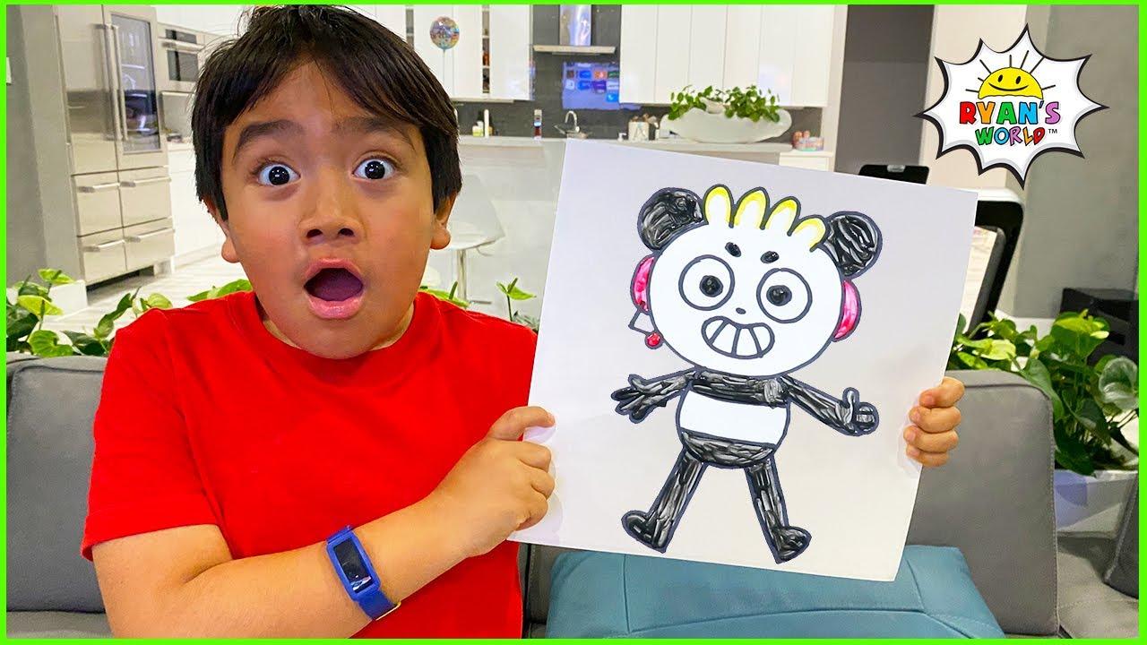 Ryan learns how to draw Combo Panda DIY Art for Kids!!!
