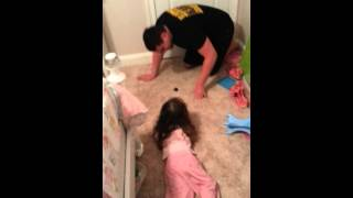 Fake poop reaction by a 2 year old