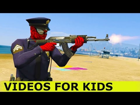 Police BUS Cars # Policeman Spiderman Cartoon # Kids and Nursery Rhymes Song