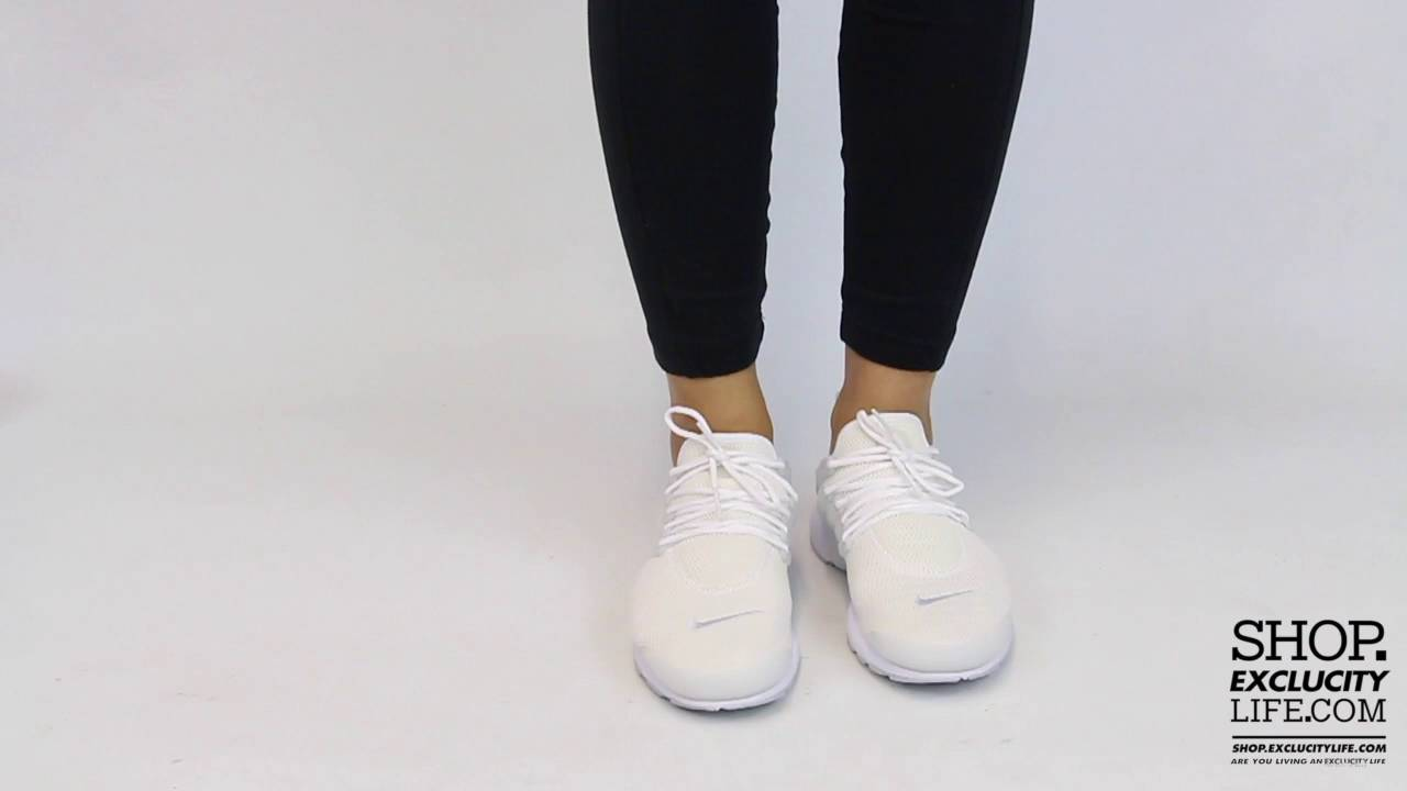 reputable site ef2c7 075a2 Women's Nike Presto Triple White On feet Video at Exclucity