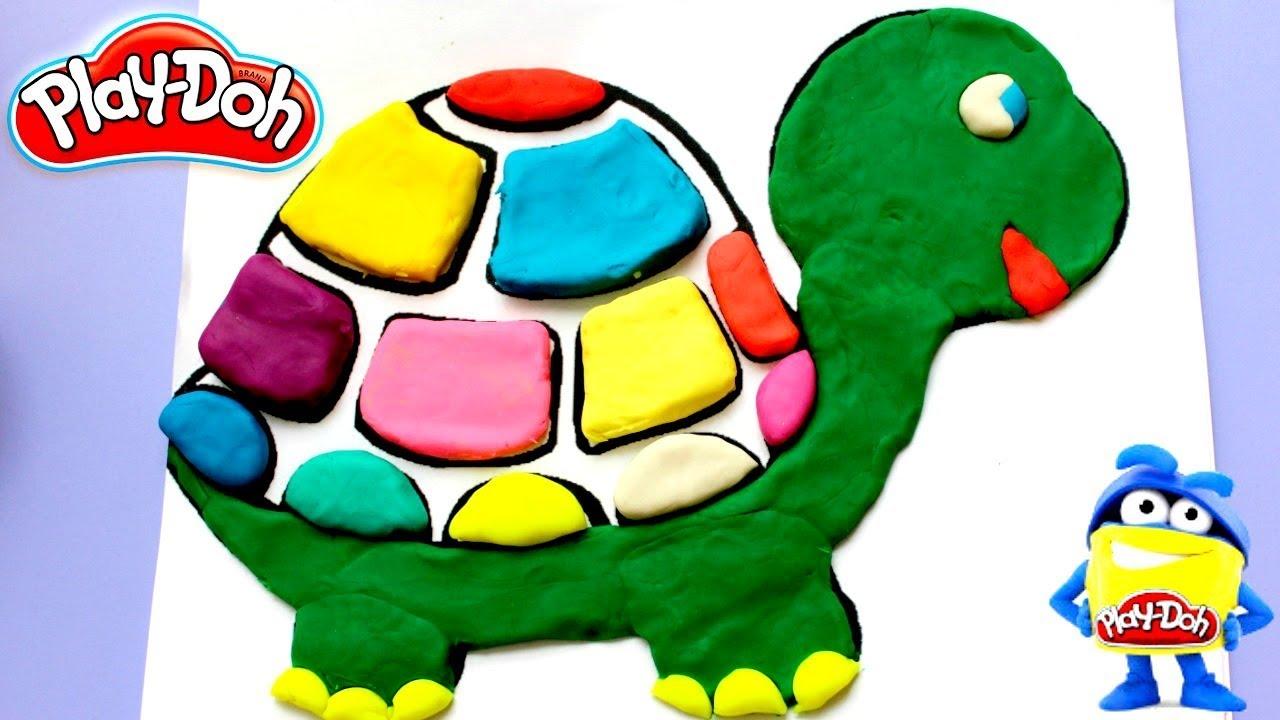 TORTUGA DE COLORES CON PLASTILINA PLAY DOH/ Dibujos Para Niños - YouTube