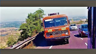 Crazy S.T. Bus Drivers - Dangerous Overtaking and Lane Cutting on Ghat Roads!!!