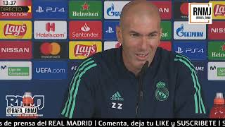 Rueda de prensa previa de ZIDANE Champions Real Madrid vs. Galatasaray (05/11/2019)