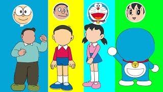 Learn Colors Doraemon Heads trolls Nobita Shizuka Jaian Finger Family Song Nursery Rhymes for Kids