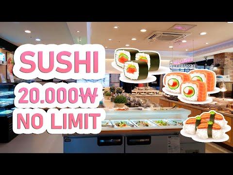 СУШИ 20.000₩ , ЕШЬ ПОКА НЕ ЛОПНЕШЬ   쿠우쿠우  Korea Food   Sushi