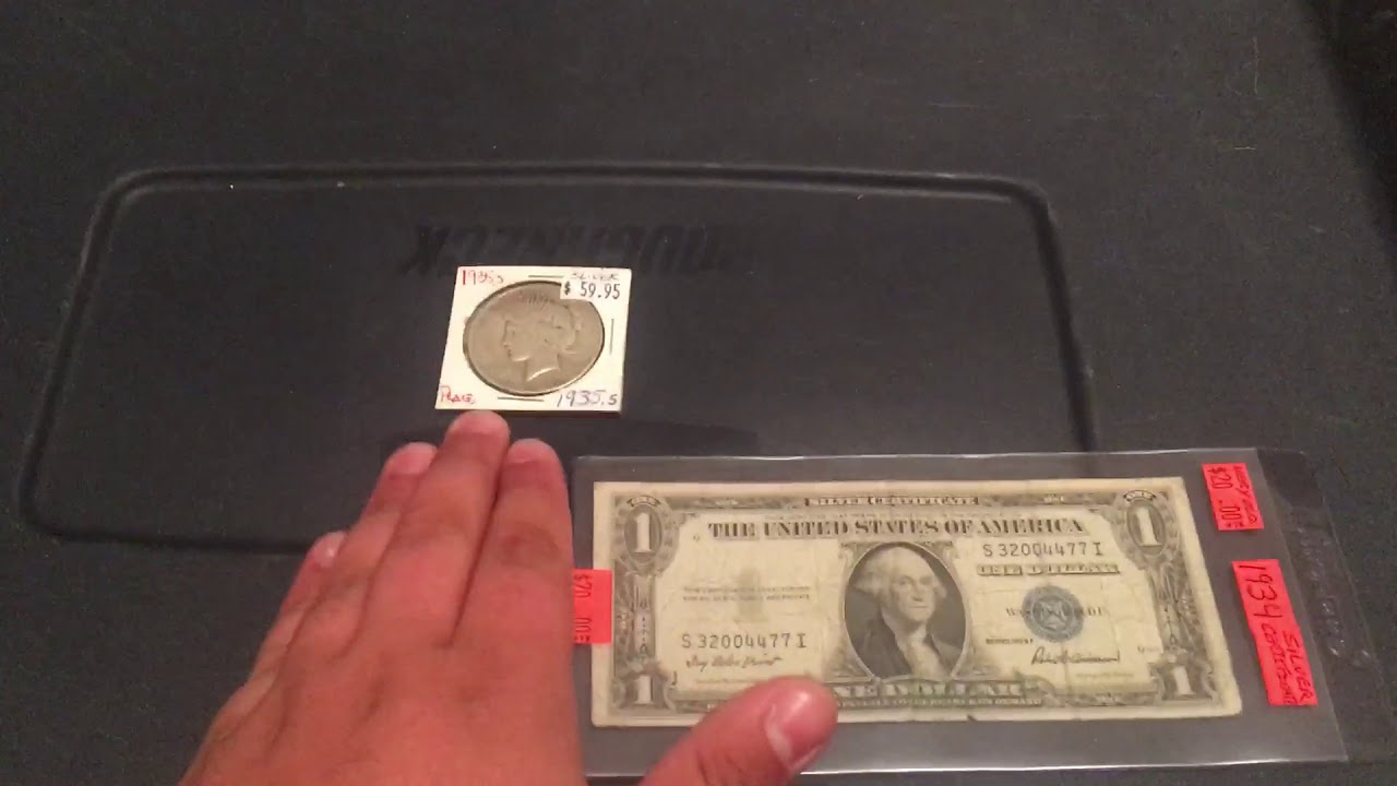 Coin Lots 1935 F Silver Certificate And Peace Dollar Youtube