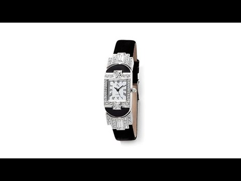 FX by Franz Xavier Crystal and Leather Strap Watch