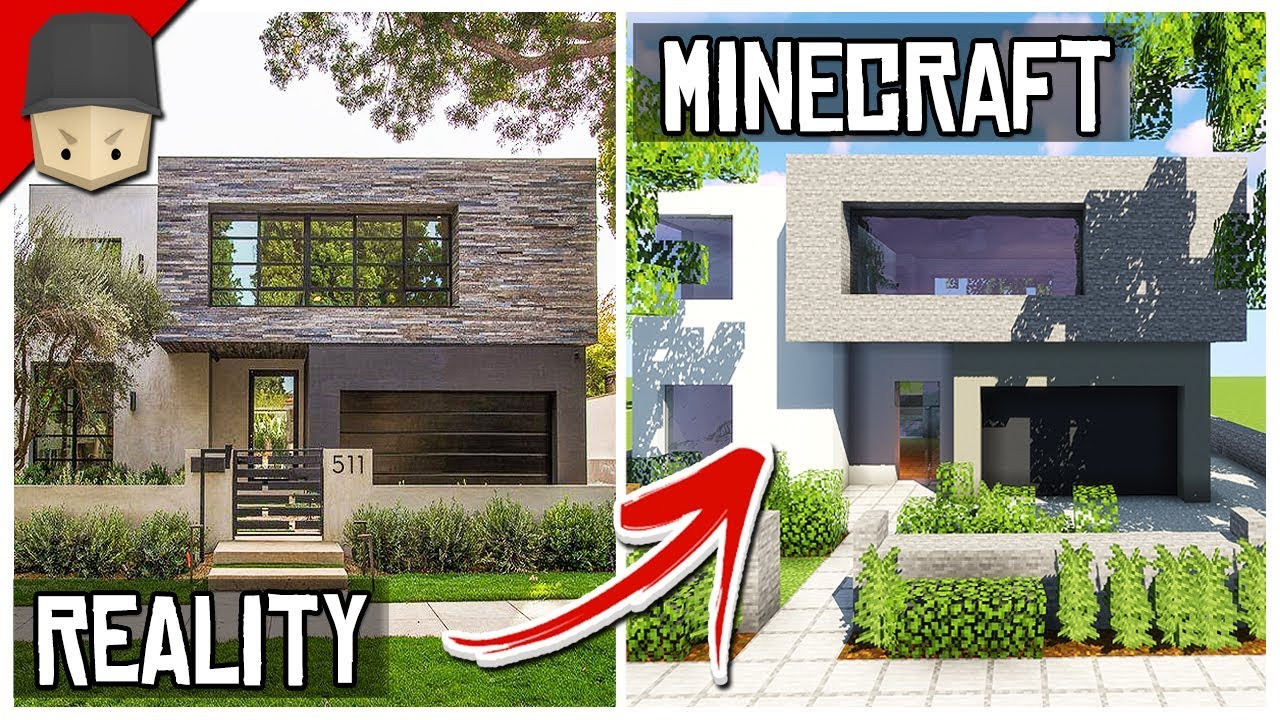 How To Build A Modern House In Minecraft Minecraft House Tutorial Youtube