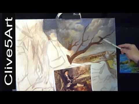 Painting a Sky ,Thomas Gainsborough in acrylic Diary # 3 acrylic painting ,clive5art