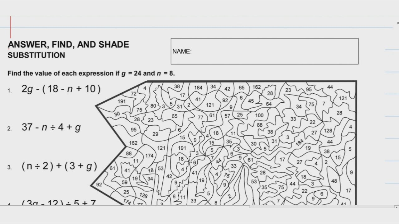Video for Answer, Find, and Shade - Substitution (Level 3) - YouTube