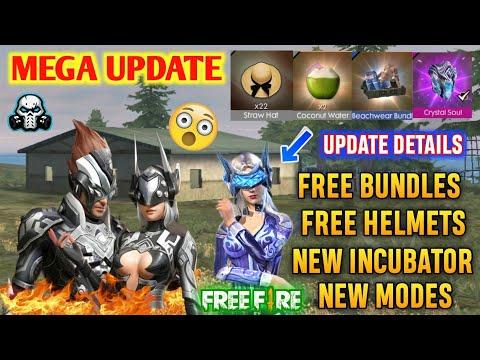 FREEFIRE MEGA UPDATE - New Incubator , Straw Hat , Free Helmets , New Modes , Free Bundles 🔥