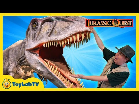 Thumbnail: JURASSIC QUEST FOR DINOSAURS! Giant T-Rex Family Fun Theme Park w/ Children's Activities & Kids Toys
