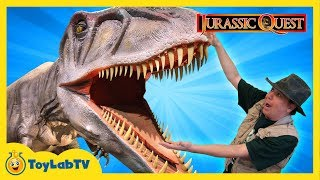 JURASSIC QUEST FOR DINOSAURS! Giant T-Rex Family Fun Theme Park w/ Children