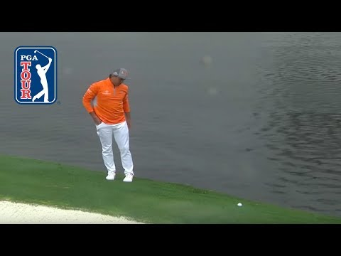Rickie Fowler's ball rolls back into water after drop | Waste Management 2019