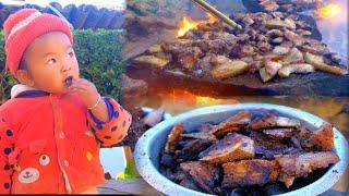 Tihar festival pork Roast Making and having together