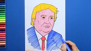 How to draw and color Mr. Donald Trump - President of USA