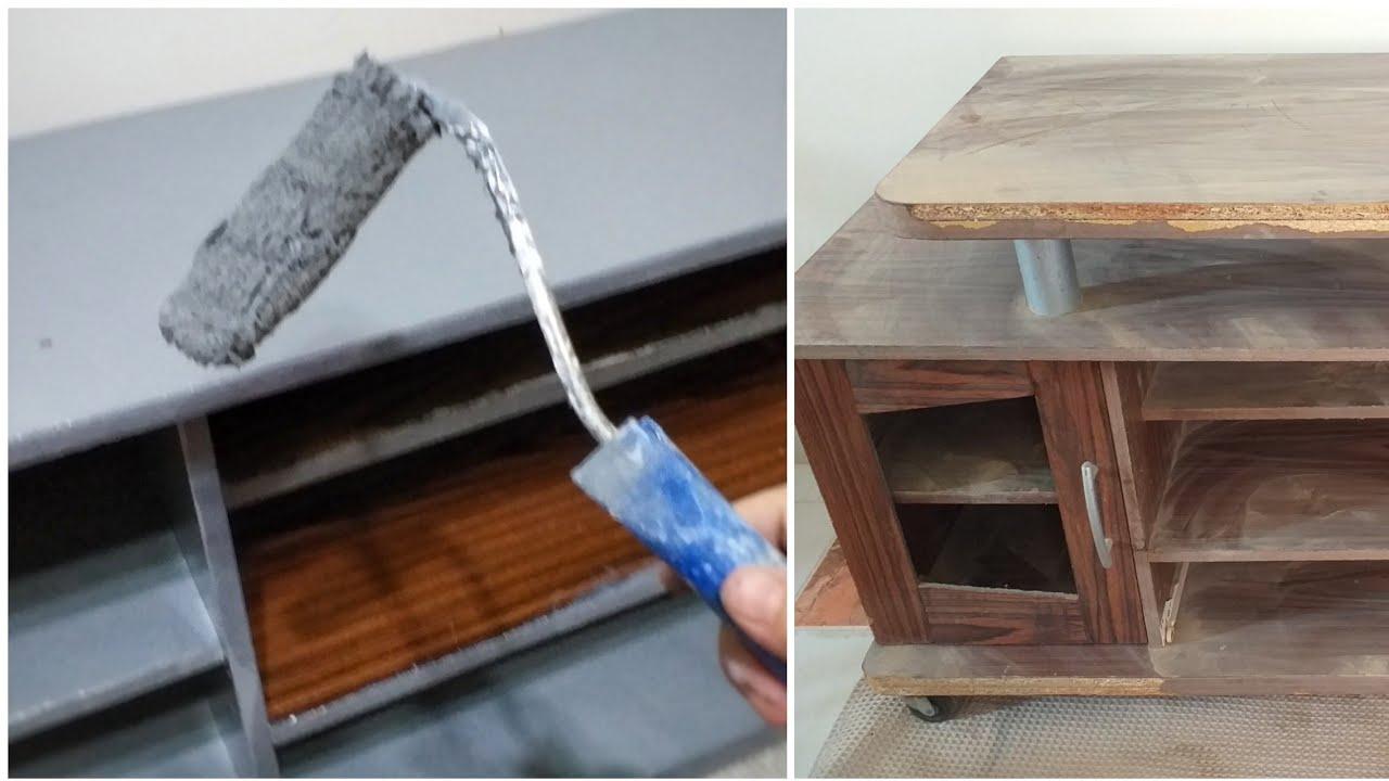 طريقة دهان الخشب القديم القشرة الى لاكية تجديد ودهان ترابيزة تليفزيون قديمة كنت هارميها Youtube