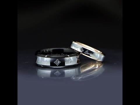 Titanium Promise Couples Rings with Custom Names