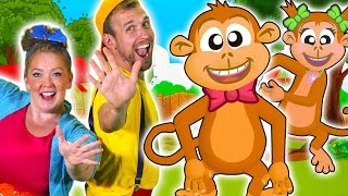 Five Little Monkeys Jumping on the Bed | Children nursery rhymes!
