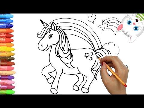 cómo-dibujar-y-colorear-unicornio-|-dibujos-para-niños-con-mimi-|-aprender-colores