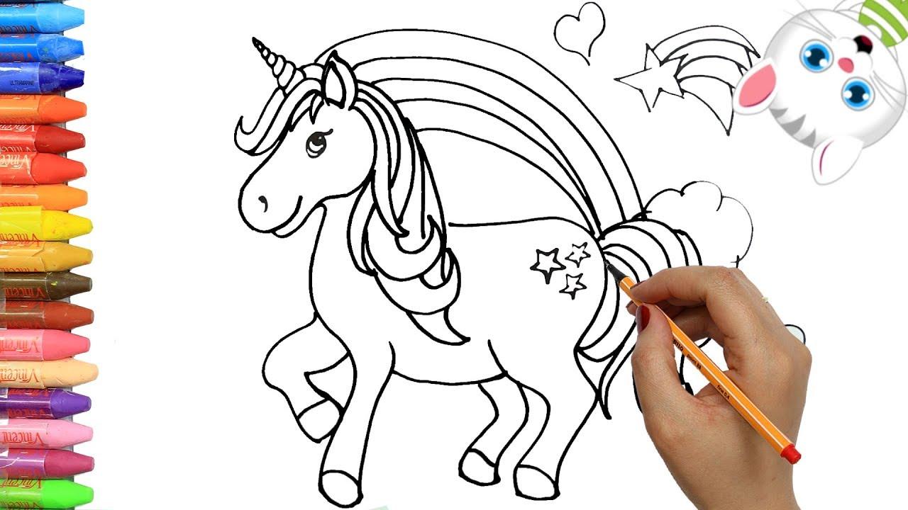 Cómo Dibujar Y Colorear Unicornio Dibujos Para Niños Con Mimi Aprender Colores