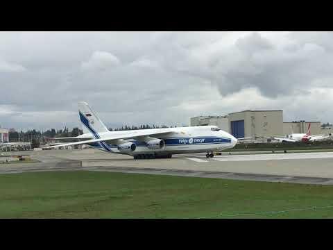 Volga-Dnepr Antanov AN-124 Ruslan Cargo Jet Takes Off At Paine Field (Everett, WA)