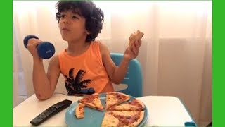 Try to Watch This Without Laughing or Grinning-Adam eating Pizza and Training