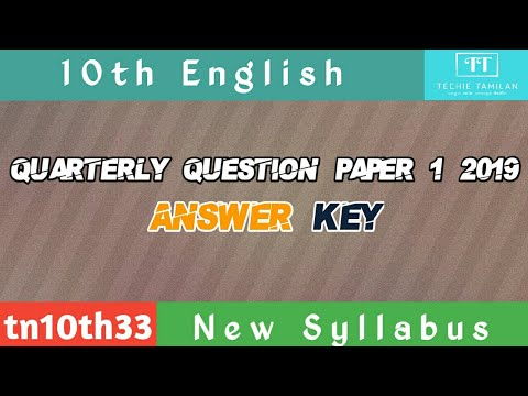 10th English Quarterly Question Paper 1 Answer Keys | 2019 To 2020