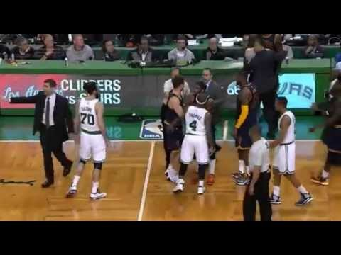 Kendrick Perkins punches Jae Crowder! (Revenge for Kevin Love's shoulder injury?)