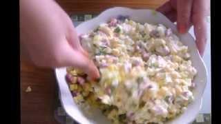 Салат с вермишелью и домашним майонезом