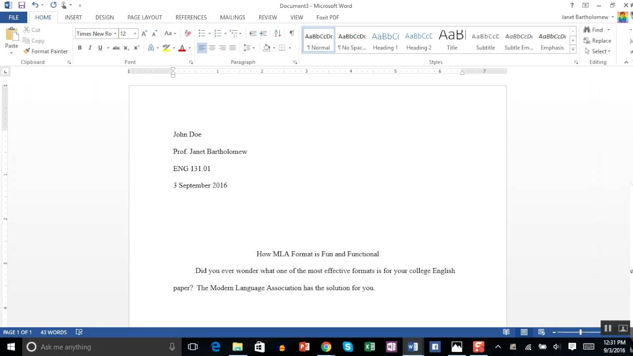 how to set up mla format on microsoft word 2013