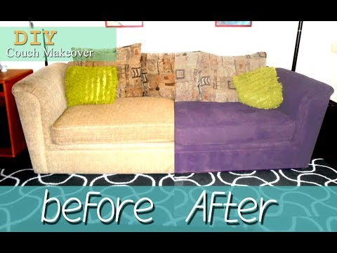 DIY How To Paint a Fabric Couch upholster Step by Step  Makeover   ازاى تدهن كنبة فى البيت