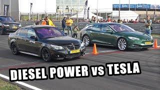 Diesel Power! BMW 535D vs Tesla Model S Shooting Brake