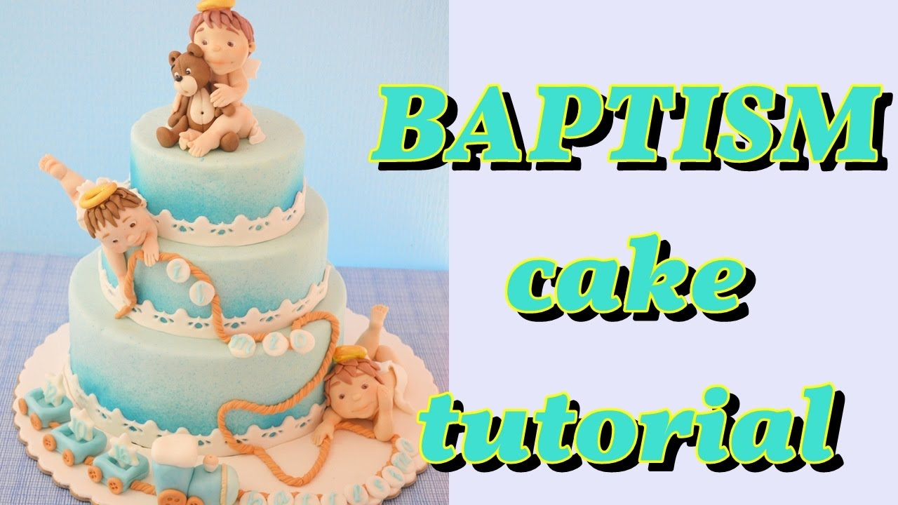 Fondant Baptism Cake Tutorial Torta Battesimo Angeli Pasta Di