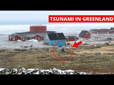 MEGA-TSUNAMI caused by LANDSLIDE devastates village - Camera 1 | Greenland, Nuugaatsiaq