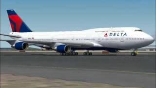 DELTA 747-400 flight 22 arrives in Tokyo (FS2004)