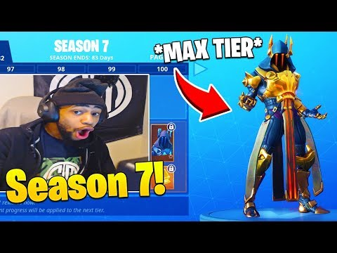 STREAMERS REACT TO *FULL* SEASON 7 BATTLE PASS + LEVEL 100 MAX TIER! - Fortnite FUNNY Moments