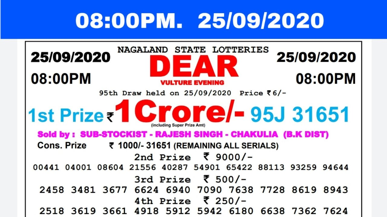 🔴Lottery Sambad Result Live 08.00pm 25.09.20 Nagaland State Lottery Live gdn