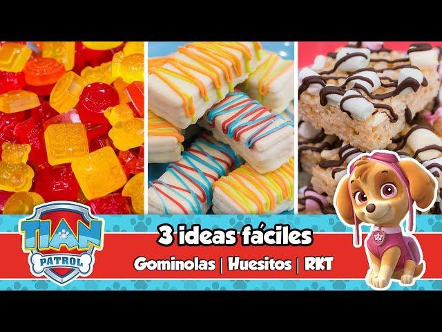 3 IDEAS FÁCILES | Gominolas, Huesitos y Barritas de cereal | Mesa dulce de Tián | PAW PATROL