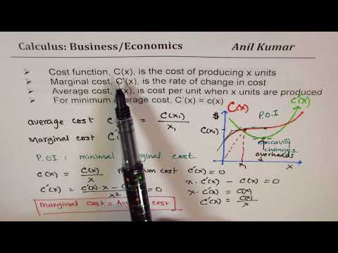 Cost Marginal and Average Cost Business Economics Calculus A